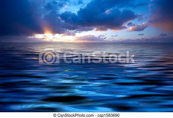 абстрактные, закат солнца, океан - csp1583690