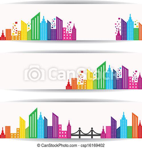 абстрактные, красочный, дизайн, здание - csp16169402