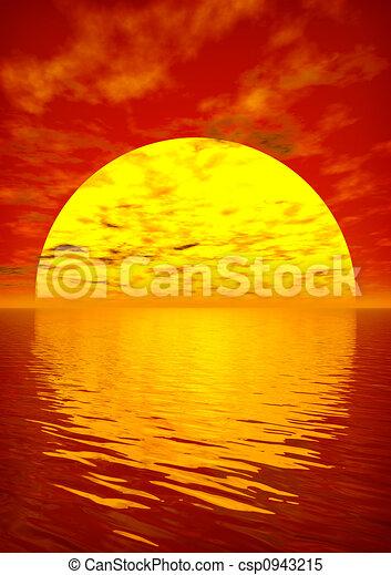 алый, закат солнца - csp0943215