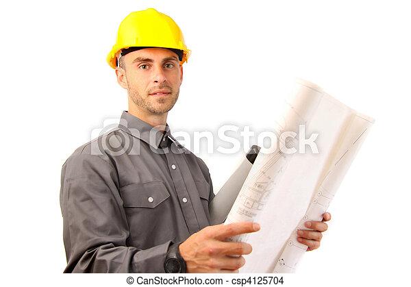 белый, архитектор, молодой, против - csp4125704