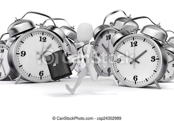 бизнесмен, часы, человек, 3d, аварийная сигнализация - csp24302989