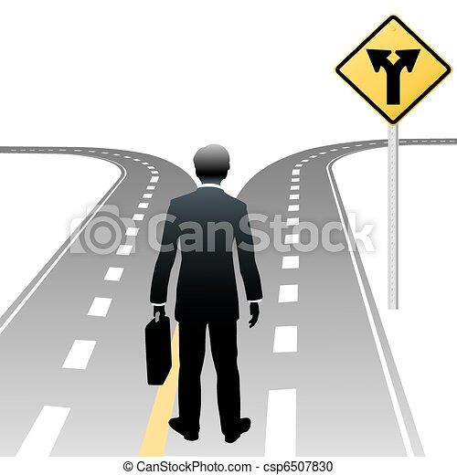 бизнес, решение, знак, человек, направления, дорога - csp6507830