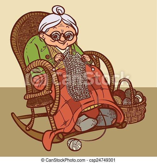 Вектор, веселая, мультфильм, иллюстрация, granny. Вектор, шарф, бабушка,  веселая, мультфильм, knits. | CanStock