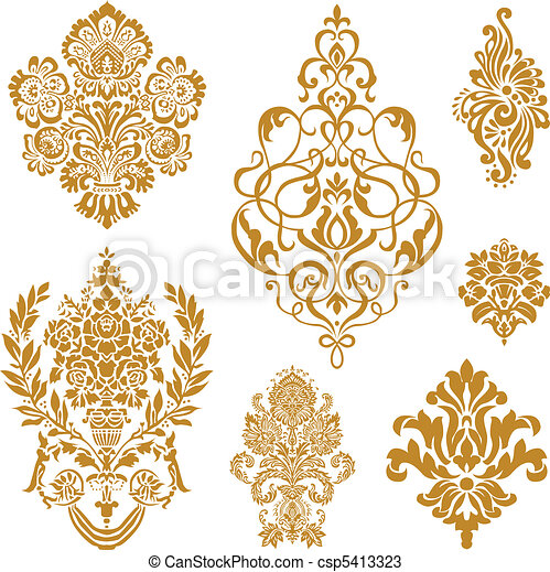 вектор, задавать, орнамент, золото, алый - csp5413323