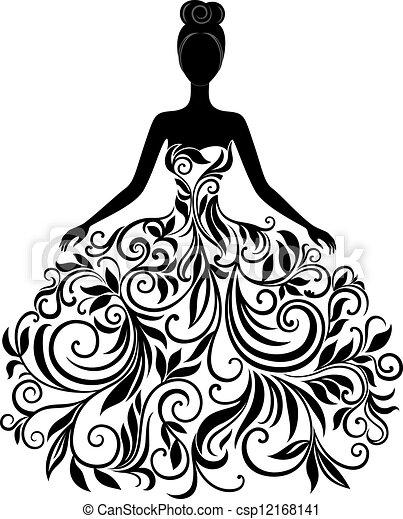 вектор, платье, женщина, силуэт, молодой - csp12168141