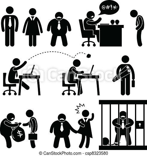 веселая, босс, бизнес, офис, значок - csp8323580