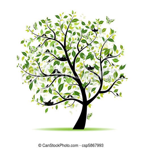 весна, дерево, ваш, зеленый, дизайн, birds - csp5867993
