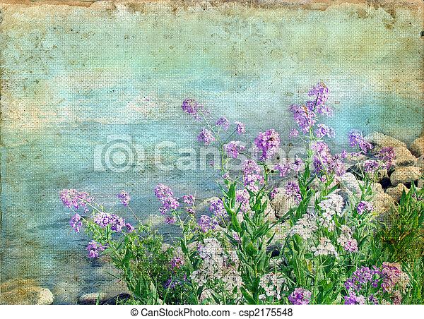 весна, цветы, гранж, задний план - csp2175548