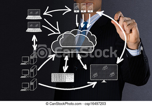 высокая, образ, концепция, технологии, облако - csp16497203