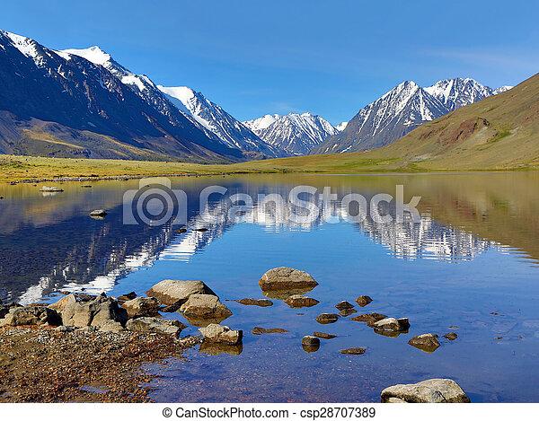 гора, озеро, пейзаж - csp28707389