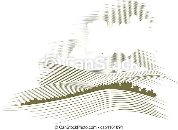 гравюра на дереве, skyscape - csp4161894