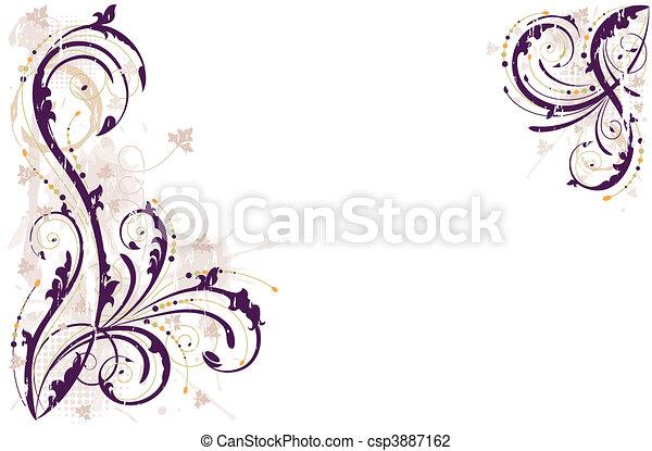 гранж, задний план, вектор, цветочный - csp3887162