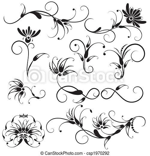 декоративный, цветочный, elements, дизайн - csp1970292