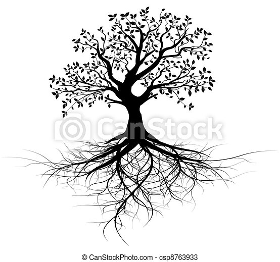 дерево, вектор, все, roots, черный - csp8763933