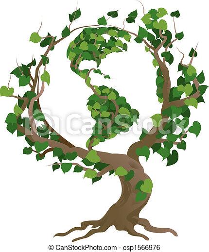 дерево, иллюстрация, вектор, мир, зеленый - csp1566976
