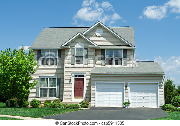 дом, винил, фронт, один, семья, мэриленд, главная, сайдинг - csp5911505