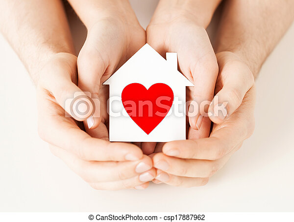 дом, пара, бумага, держа, руки, белый - csp17887962
