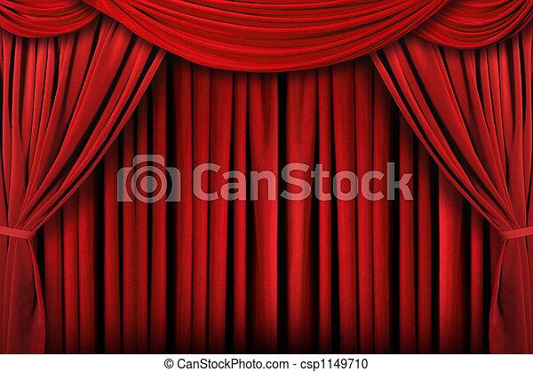 драпировка, theatre, абстрактные, задний план, красный, сцена - csp1149710