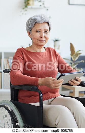 женщина, с помощью, pc, отключен, таблетка - csp81908765