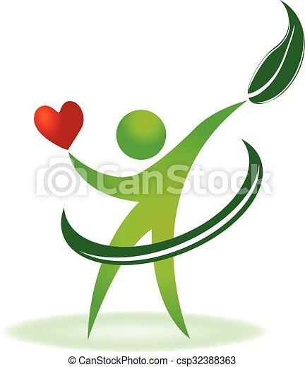 забота, логотип, здоровье, сердце, природа - csp32388363