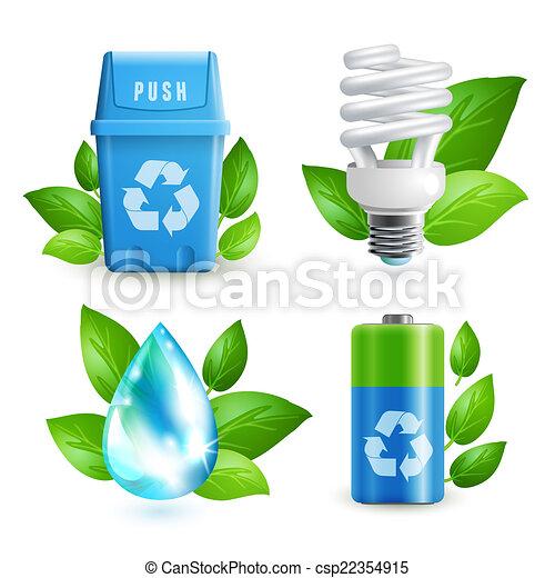 задавать, отходы, экология, значок - csp22354915