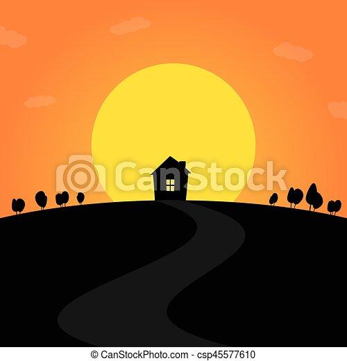 закат солнца - csp45577610