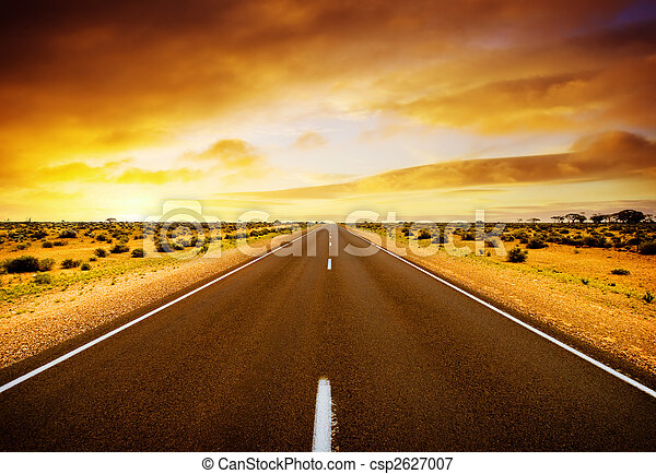 закат солнца, дорога - csp2627007