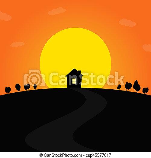 закат солнца - csp45577617