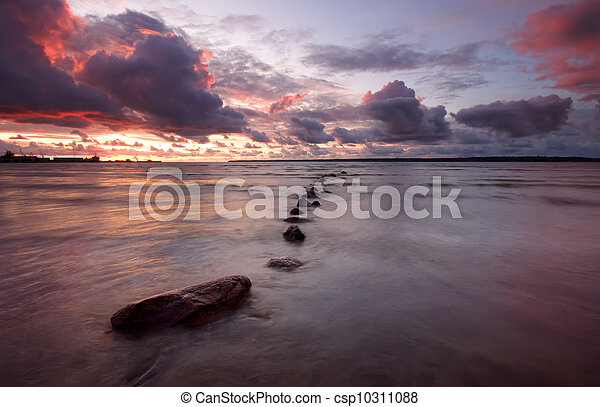 закат солнца, море - csp10311088