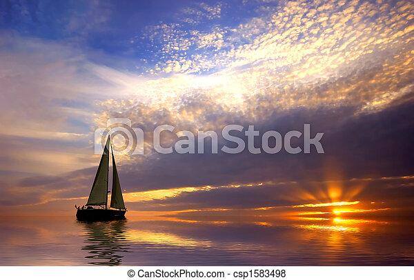 закат солнца, парусный спорт - csp1583498