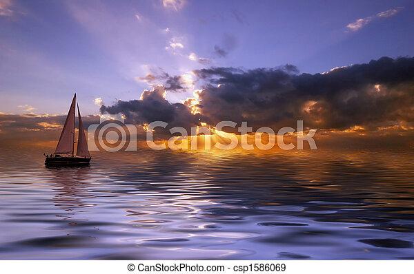 закат солнца, парусный спорт - csp1586069