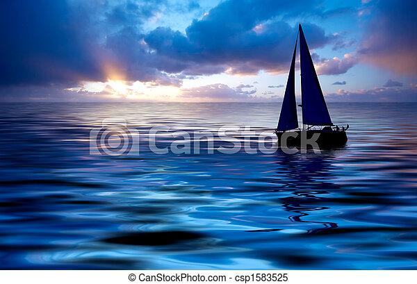 закат солнца, парусный спорт - csp1583525