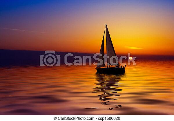 закат солнца, парусный спорт - csp1586020