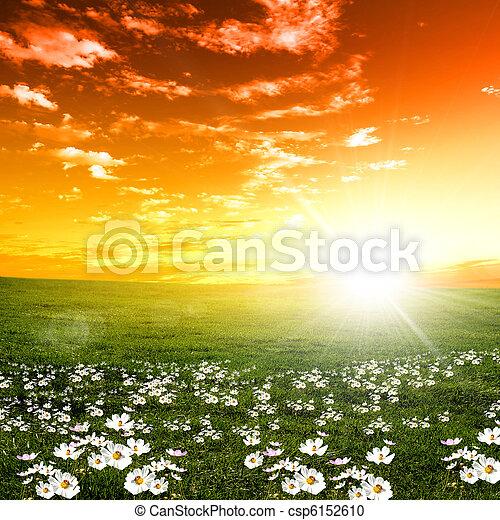 закат солнца, пейзаж, природа - csp6152610