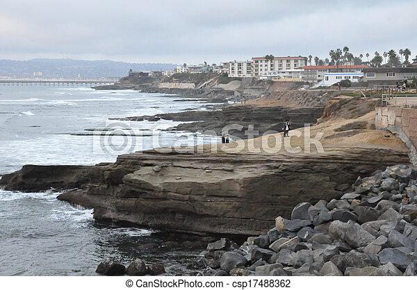закат солнца, cliffs, калифорния - csp17488362