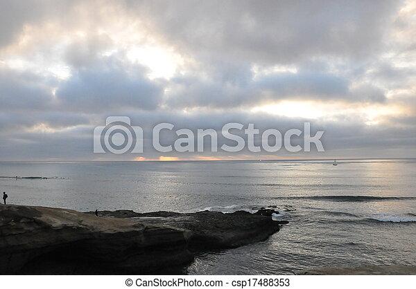 закат солнца, cliffs, калифорния - csp17488353