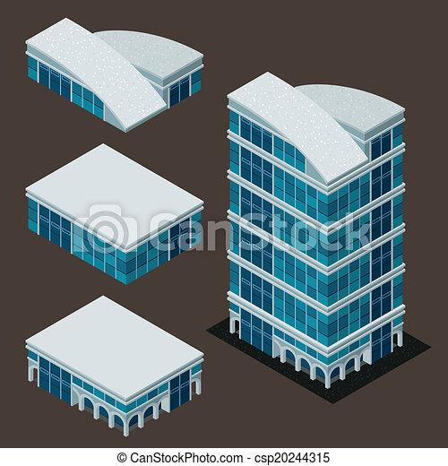 здание, изометрический, современное - csp20244315