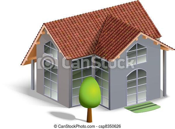 здание, модель, белый, isolated - csp8350626