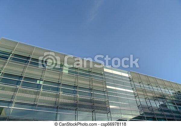 здание, синий, современное, небо, против, фасад - csp66978118