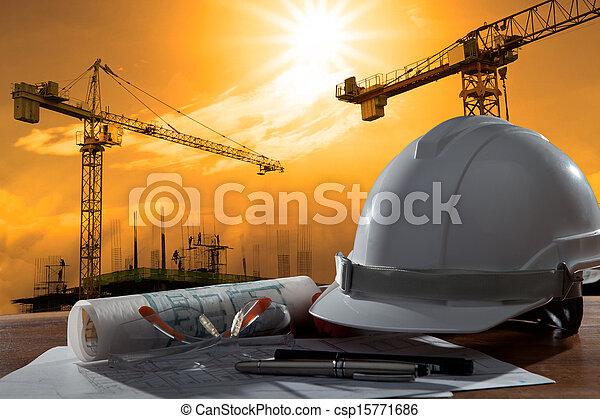 здание, шлем, безопасность, место действия, pland, дерево, архитектор, файл, таблица, строительство, закат солнца - csp15771686