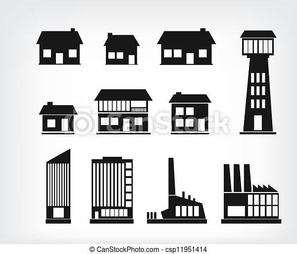 здание, icons - csp11951414