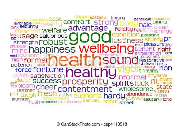 здоровье, хорошо, wellbeing, облако, тег - csp4113518