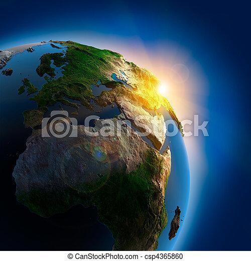 земля, над, outer, восход, пространство - csp4365860
