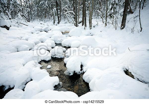 зима, под, снег, река, лес - csp14215529