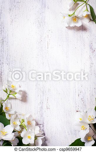 изобразительное искусство, весна, рамка, жасмин, дерево, задний план, старый, цветы - csp9659947