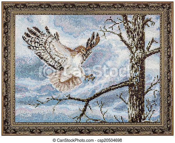 картина, рамка, isolated, embroidered, задний план, белый - csp20504698