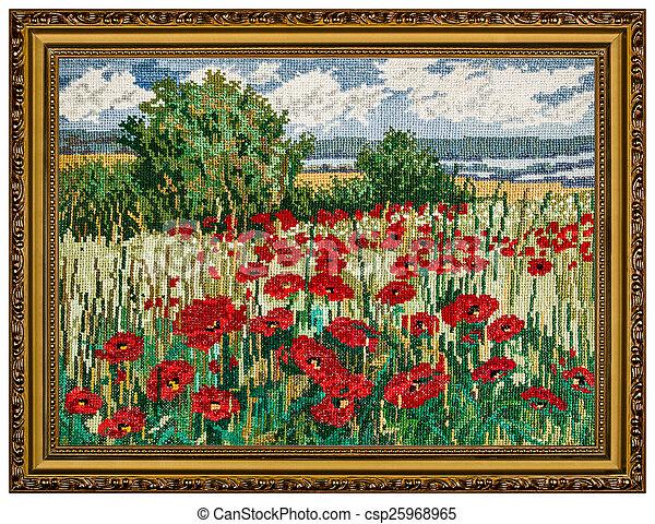 картина, рамка, isolated, embroidered, задний план, белый - csp25968965