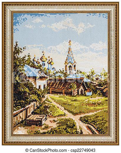 картина, рамка, isolated, embroidered, задний план, белый - csp22749043