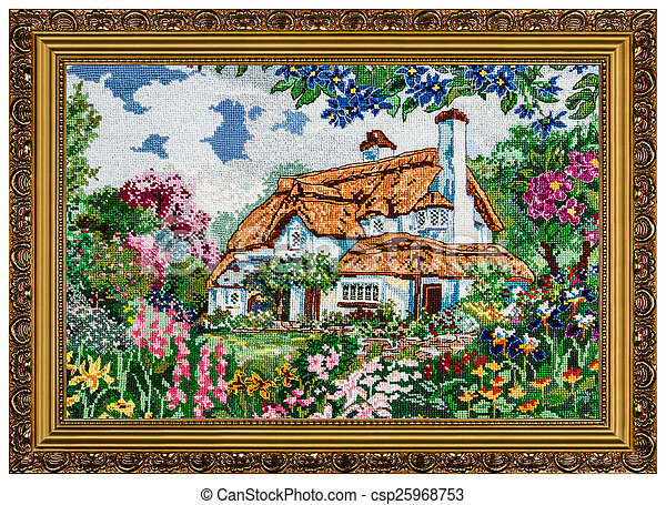 картина, рамка, isolated, embroidered, задний план, белый - csp25968753