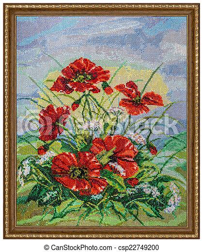 картина, рамка, isolated, embroidered, задний план, белый - csp22749200